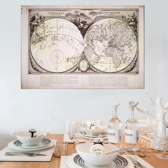Vintage world map canvas art - evasdecor.com