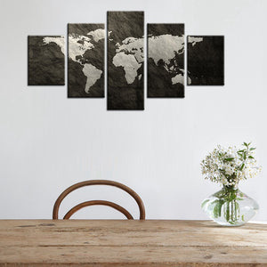 Black & white world map 5 pcs. - evasdecor.com