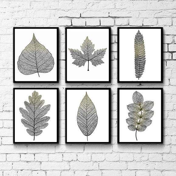 Transparent leaves canvas art - evasdecor.com