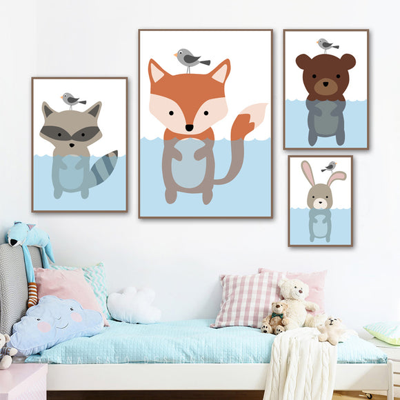 Swimming animals canvas print - evasdecor.com