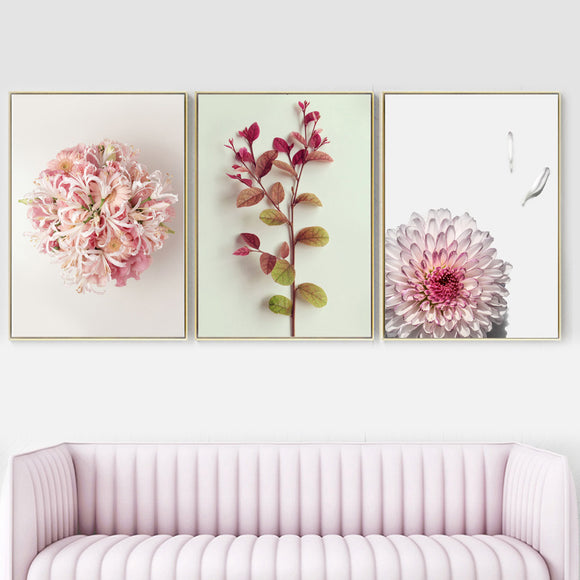 Pink flowers canvas wall art - evasdecor.com