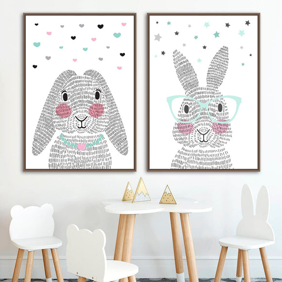 Grey cartoon rabbit canvas print - evasdecor.com