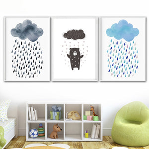 Cartoon rainfall canvas print - evasdecor.com