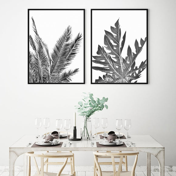 Black leaves canvas print - evasdecor.com