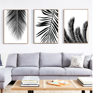 Black palm tree canvas print - evasdecor.com
