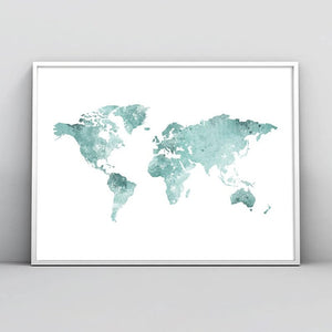 Blue watercolor world map - evasdecor.com