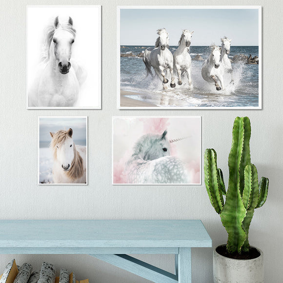 White horses wall canvas art - evasdecor.com