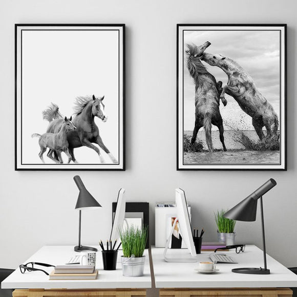 Horses wall canvas art - evasdecor.com