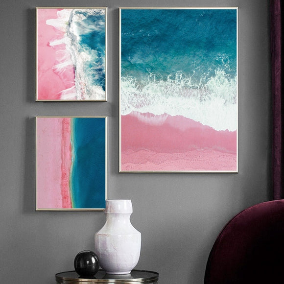 Pink sand beach canvas wall art - evasdecor.com