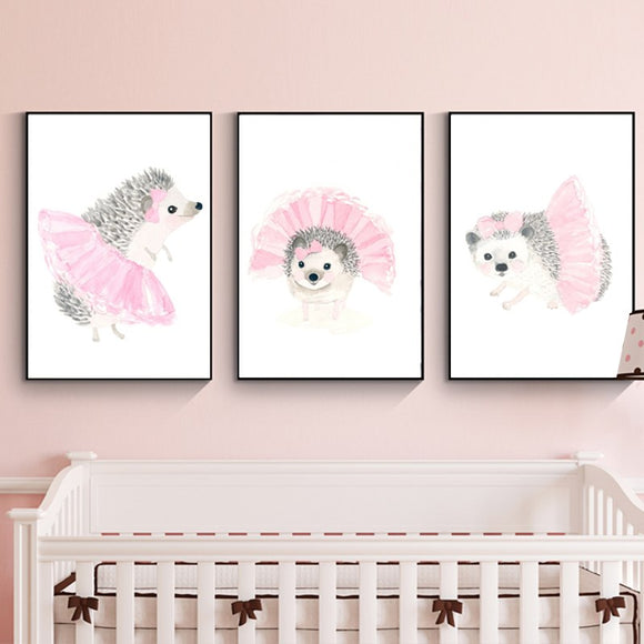 Cute hedgehog dancer canvas print - evasdecor.com