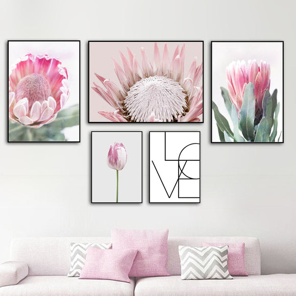 Pink watercolor flowers canvas print - evasdecor.com