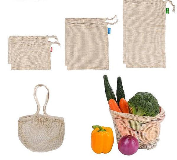 Reusable cotton mesh bag, set of 7 - evasdecor.com