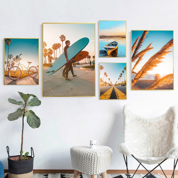Golden beach canvas print - evasdecor.com