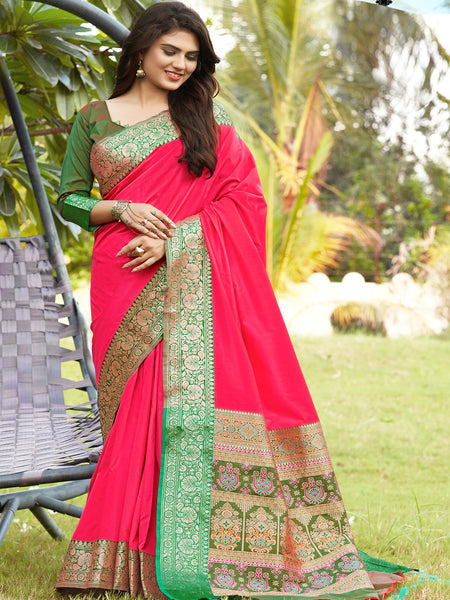 TRADITIONAL HOT PINK PURE JAM SILK SAREE