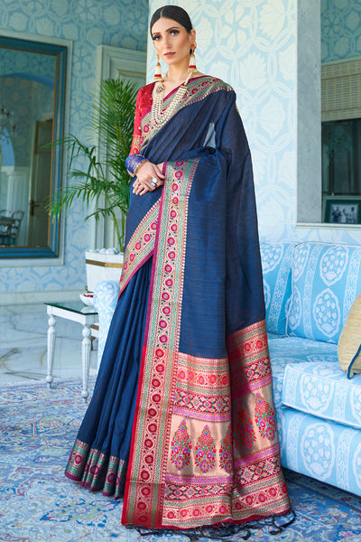 ROYAL BLUE GORGEOUS PURE SILK WEAVING SAREE WITH BLOUSE