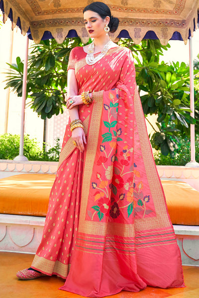 FRENCH ROSE PINK DESIGNER HAND-LOOM WEAVING SILK SAREE