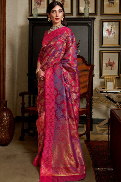 HOT PINK AND BLUE KANJIVARAM SOFT WEAVING SILK SAREE