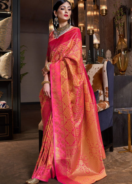 PUNCH PINK AND GOLDEN BLEND KANJIVARAM WOVEN SOFT SILK SAREE