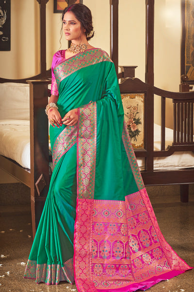 DARK GREEN AND PINK SOFT SILK SAREE WOVEN WITH RICH PALLU AND BORDER