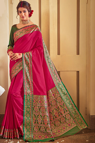 MAGENTA PINK SOFT SILK SAREE WOVEN WITH RICH PALLU AND BORDER