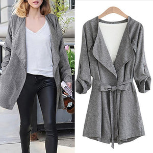 Lapel Buttonless Long-Sleeved Loose Trench Coat