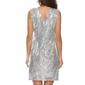 Sexy Sequined V-Neck Sleeveless Dress In A Long Dress