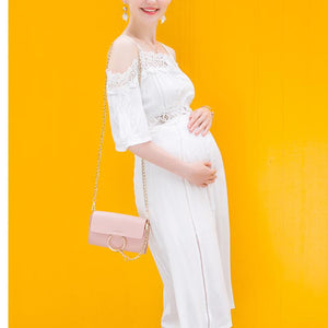 Maternity Off Shoulder White Lace Dress
