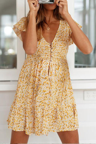 Maternity Floral V-Neck Dress