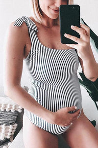 Maternity One Shoulder Stripe One-Piece Swimsuit