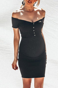 Maternity Plain Off The Shoulder Bodycon Dress