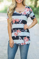 Maternity Floral Print Lace-Up Top