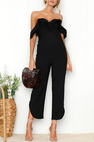 Maternity Strapless Ruffled Collar Jumpsuits