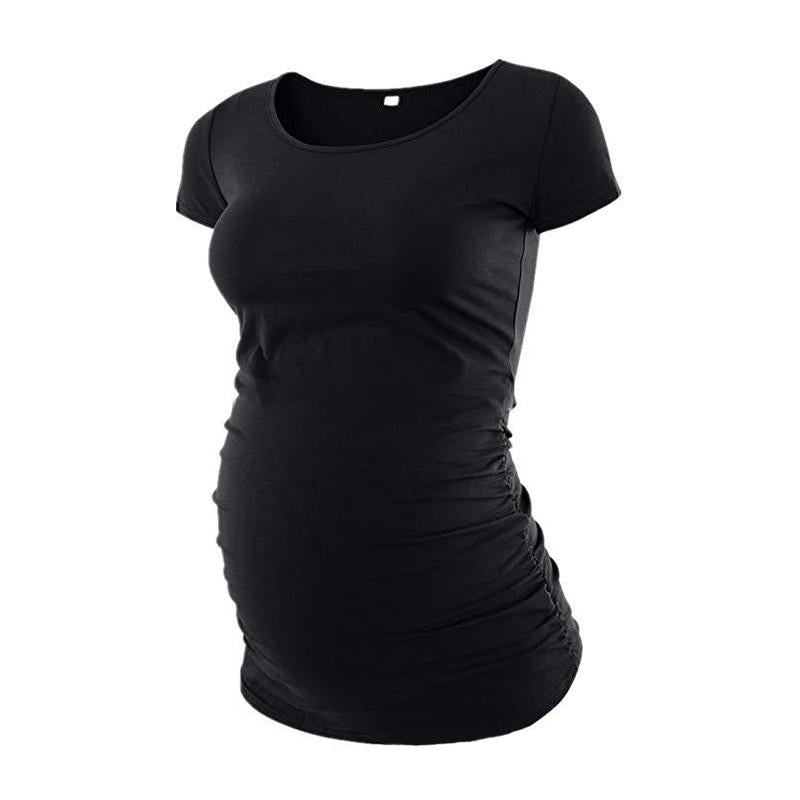 Maternity Solid Color Short Sleeve T-Shirt