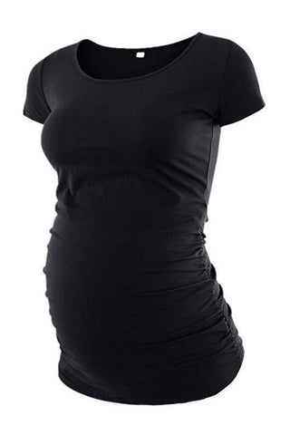 eb9357ed68f76 Maternity Solid Color Short Sleeve T-Shirt