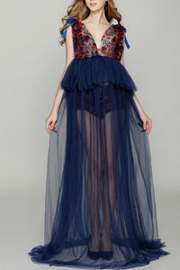 Dark_Navy Lace Deep V Floral  Maternity Full Length Dress