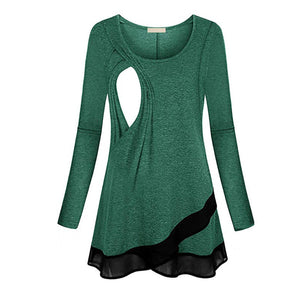 Pregnant Women Long Sleeve Asymmetric Chiffon Breastfeeding Top