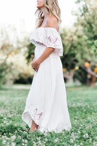 Maternity Solid White Lace Off Shoulder Dress