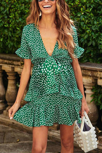 Maternity Short Sleeve Polka Dots Dress