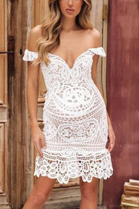 Maternity Off Shoulder Lace Dress
