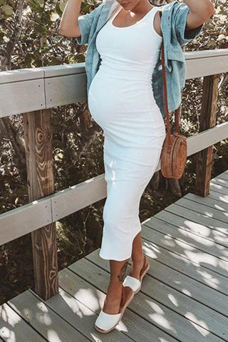 Maternity Round Neck Vest Dress