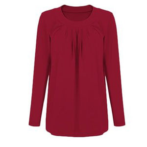 Round Neck Feeding Solid Color Shirt Pregnant Women Casual Tops