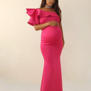 Maternity One-Shoulder Short Sleeve Full Length Dress