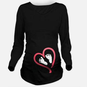 Little Foot Print Maternity Long Sleeve Shirt