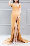 Maternity Graceful Off Shoulder Maxi Dress