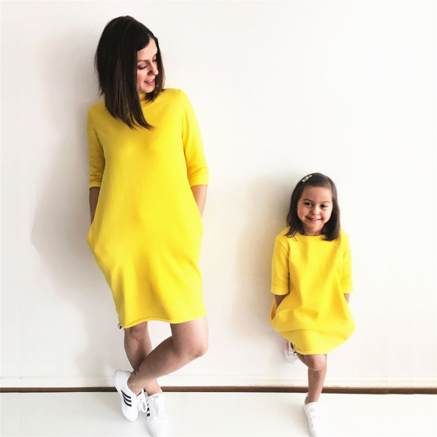 Mom Girl Solid Color Pullover Matching Dress