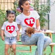Mom Girl Heart Letters Pattern Matching T-Shirt