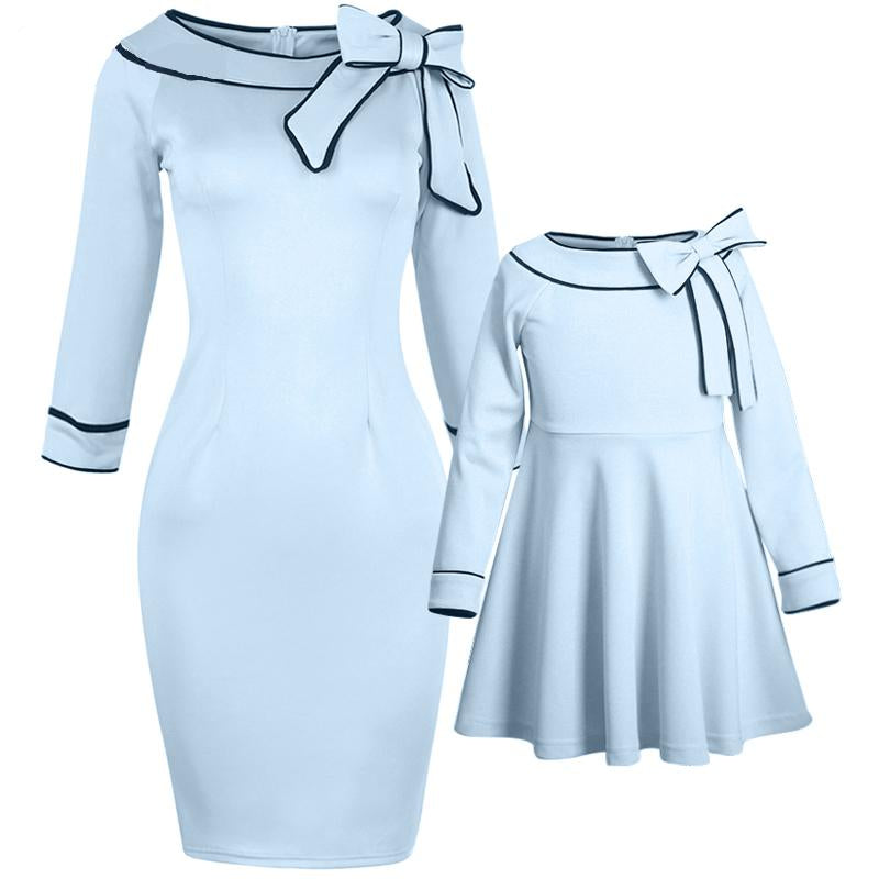 Mom Girl Bowknot Decorated Zipper Back Matching Dress
