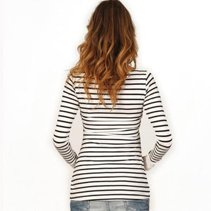 Maternity Multifunctional Stripe Nursing Tee