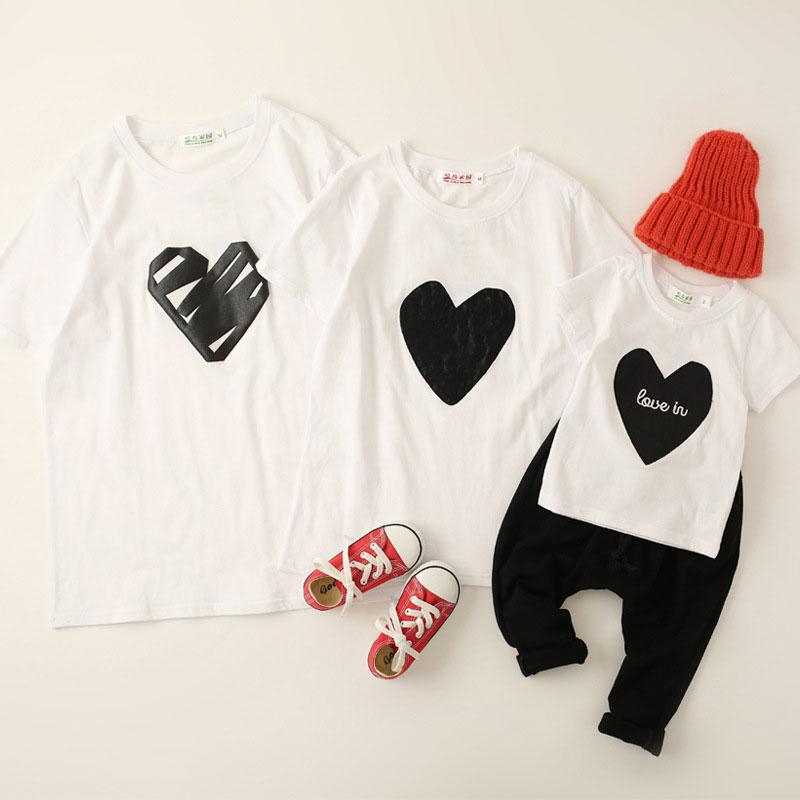 Letters Heart Pattern Round Neck Family Outfits