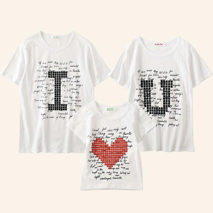 Heart Letters Pattern Round Neck Family Outfits